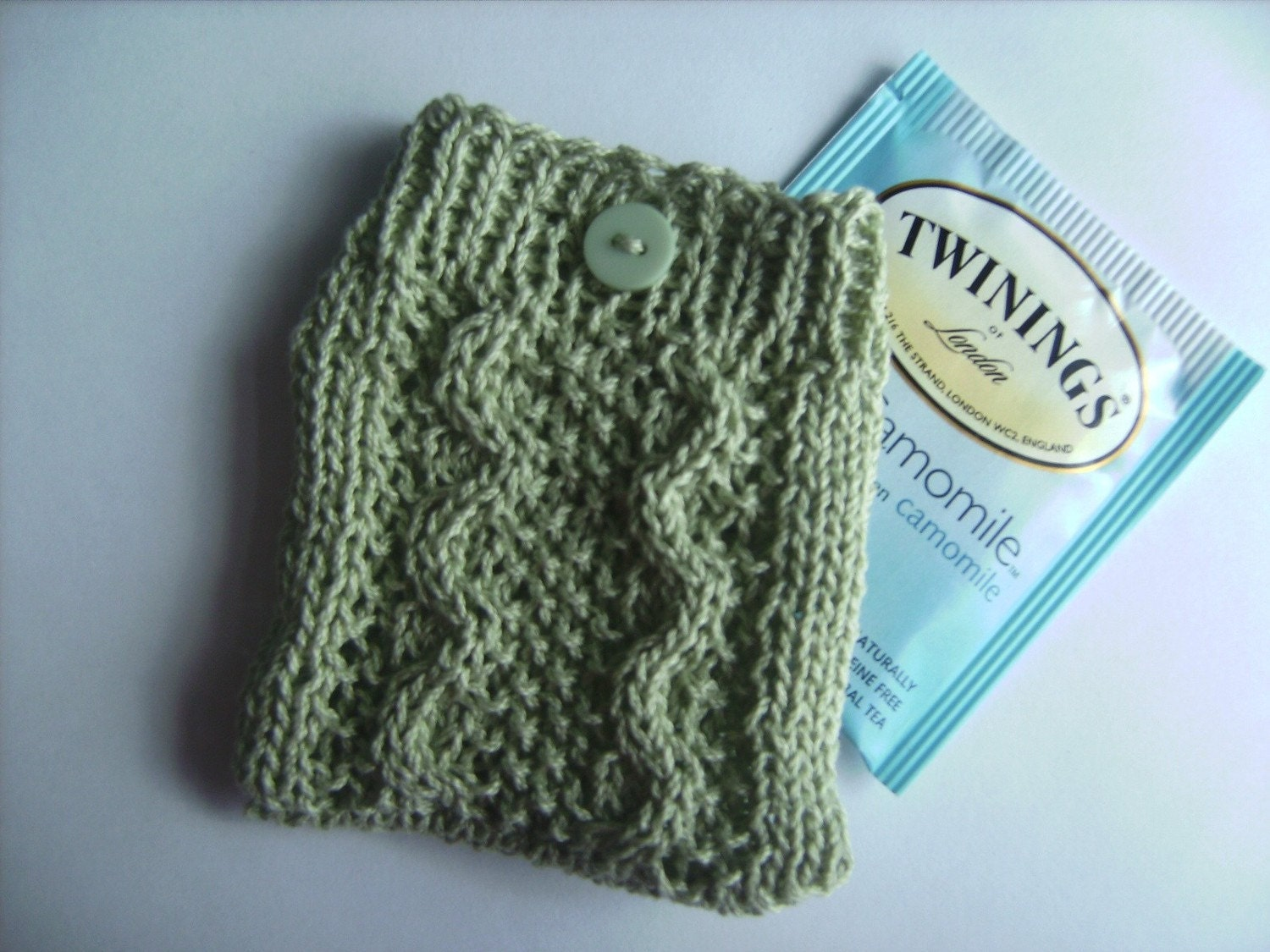 Handmade Elegant Light Green Cable Knit Tea Bag Cozy or Jewelry Pouch II