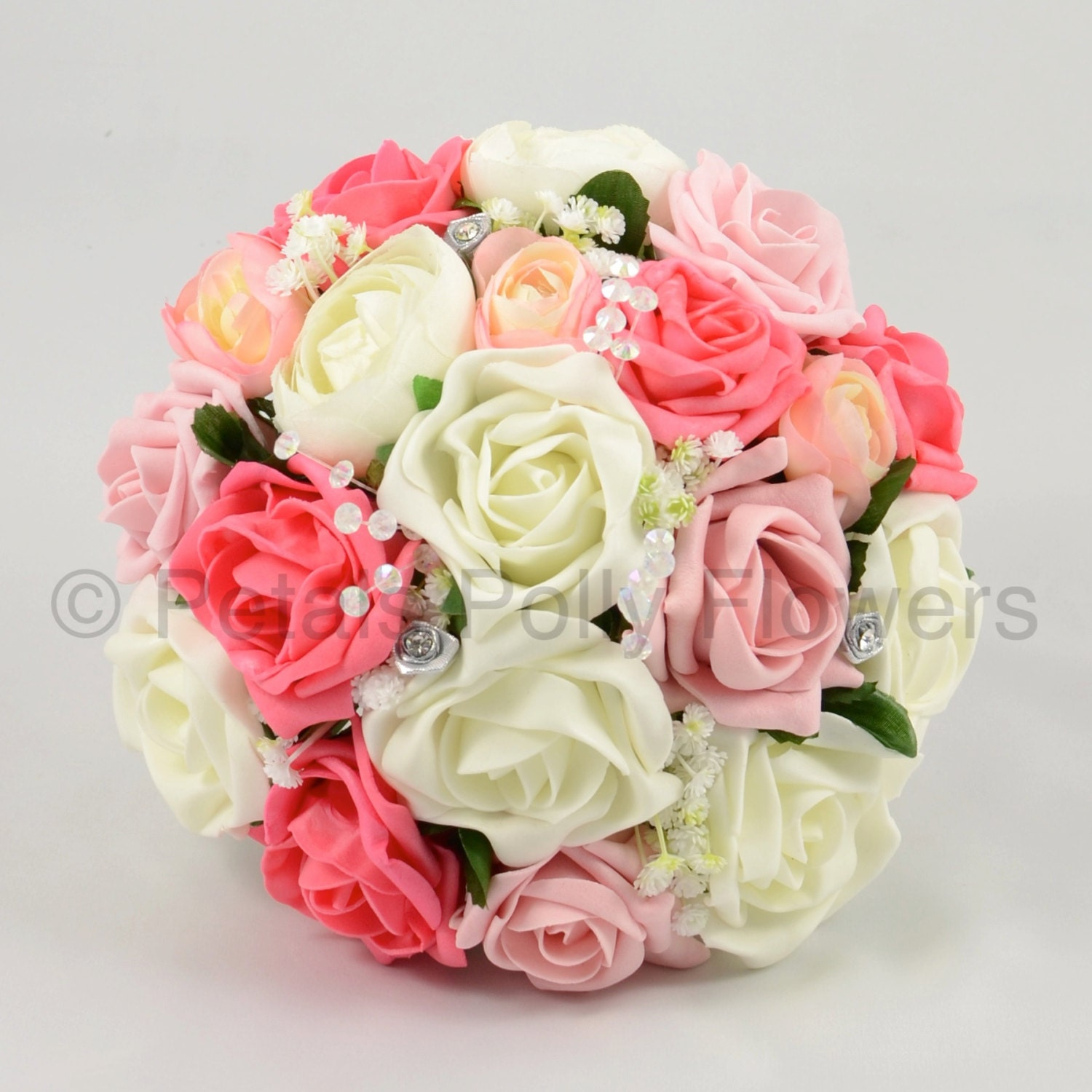 Artificial Wedding Flowers Antique Pink Coral  Ivory Rose Bridesmaids Bouquet Posy with Ranunculus