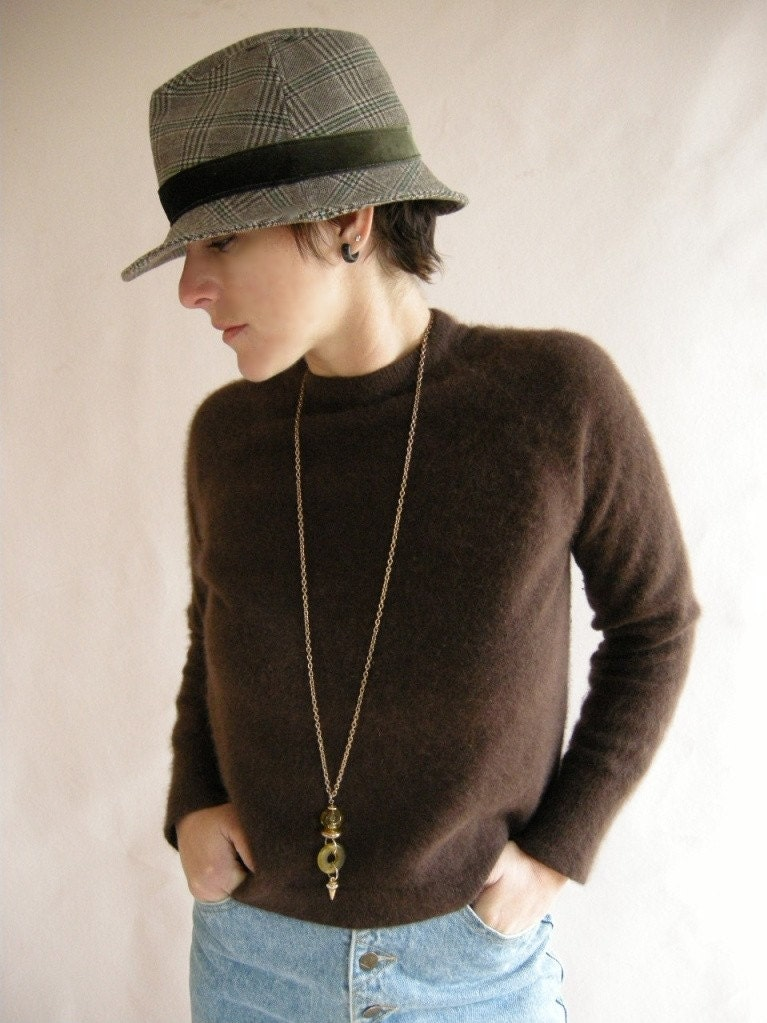 CHOCOLATE Brown Vintage 60s French Angora Sweater M by empressjade