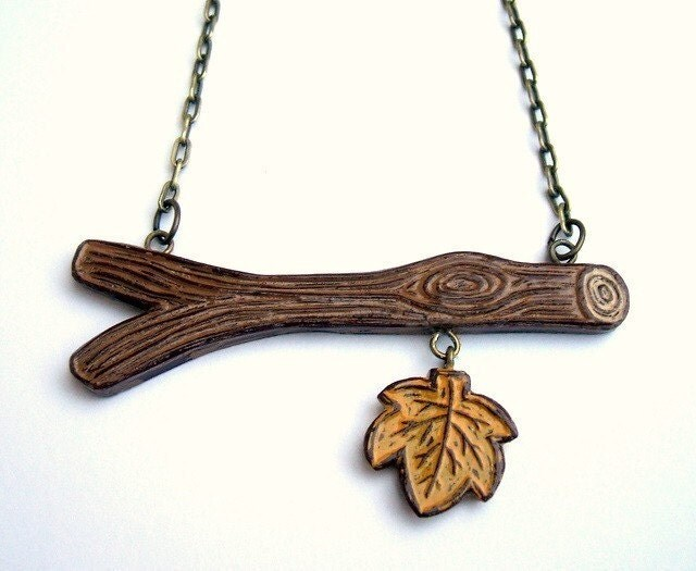 Out on A Limb -The Last Fall Leaf Necklace
