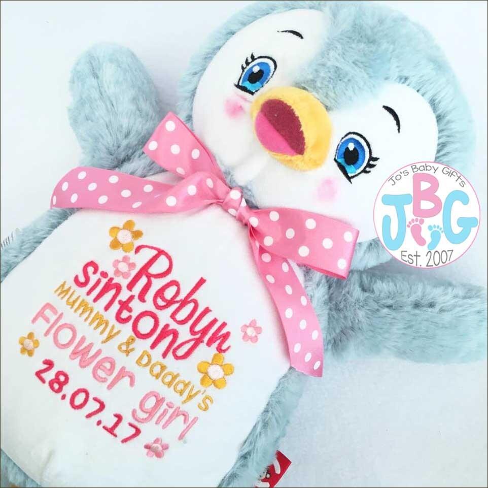 Cubbie Signature Range Penguin Teddy bear custom bears embroidered teddy baby gift personalised teddy bull dog