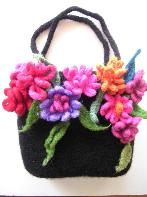 Crochet Bag Felt Pattern : POSIES Bag Pattern PDF Crochet Felted Wool by ...