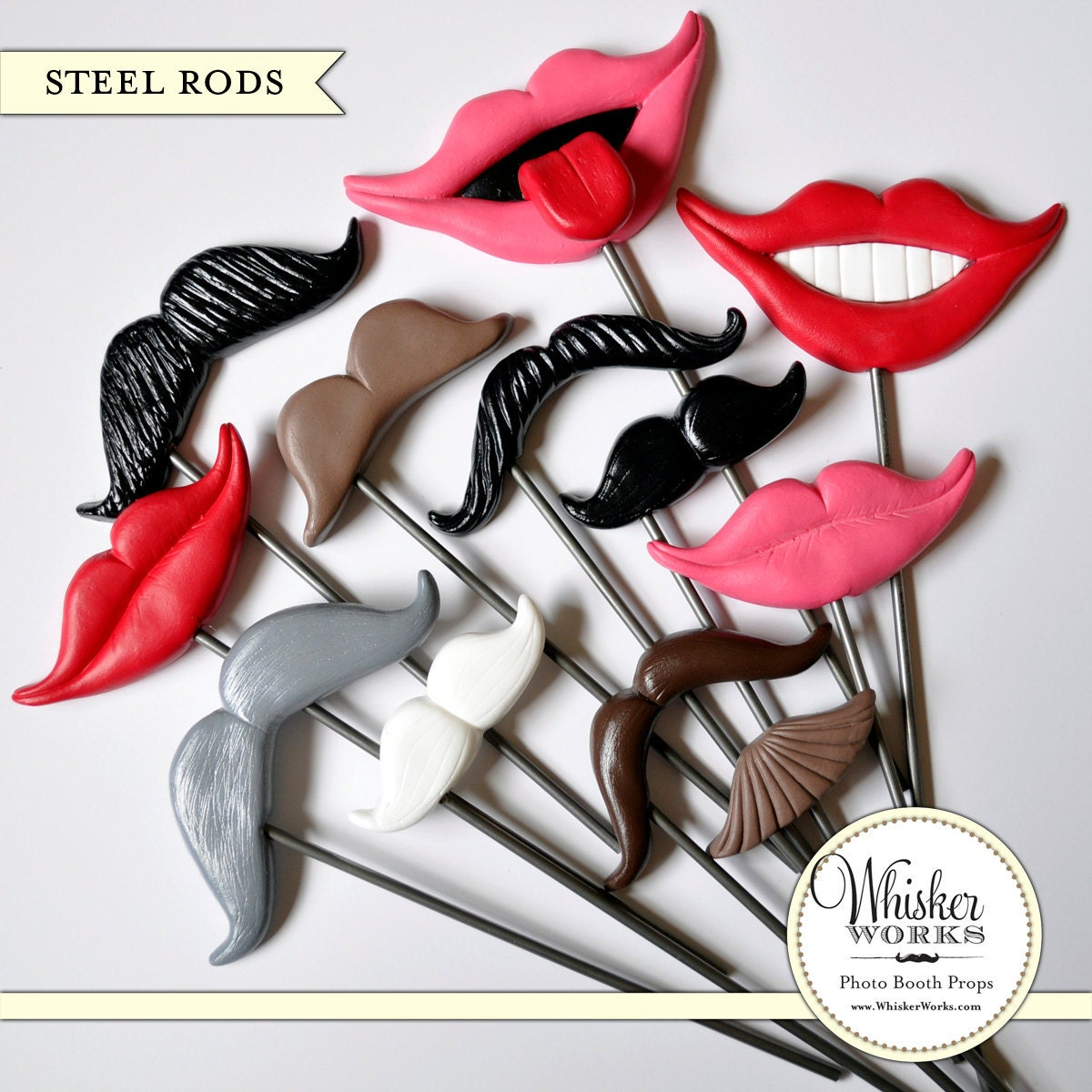 Photo Booth Props on STEEL RODS - The Ultimate Mix - Set of 12