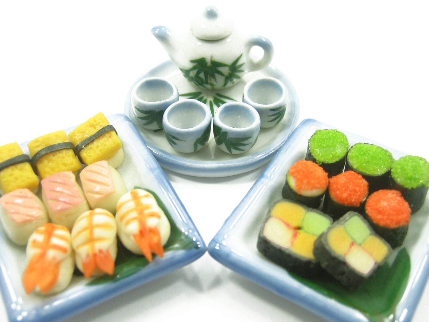 Dolls House Miniature Food Japanese Sushi Tea Set On Ceramic Plates Type H Supply Deco - 6342
