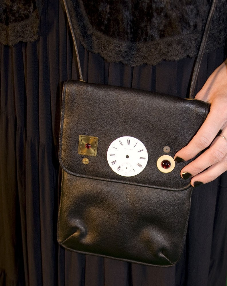 black leather purse with red vintage Swarovski Austrian crystal cabochons and antique watch parts