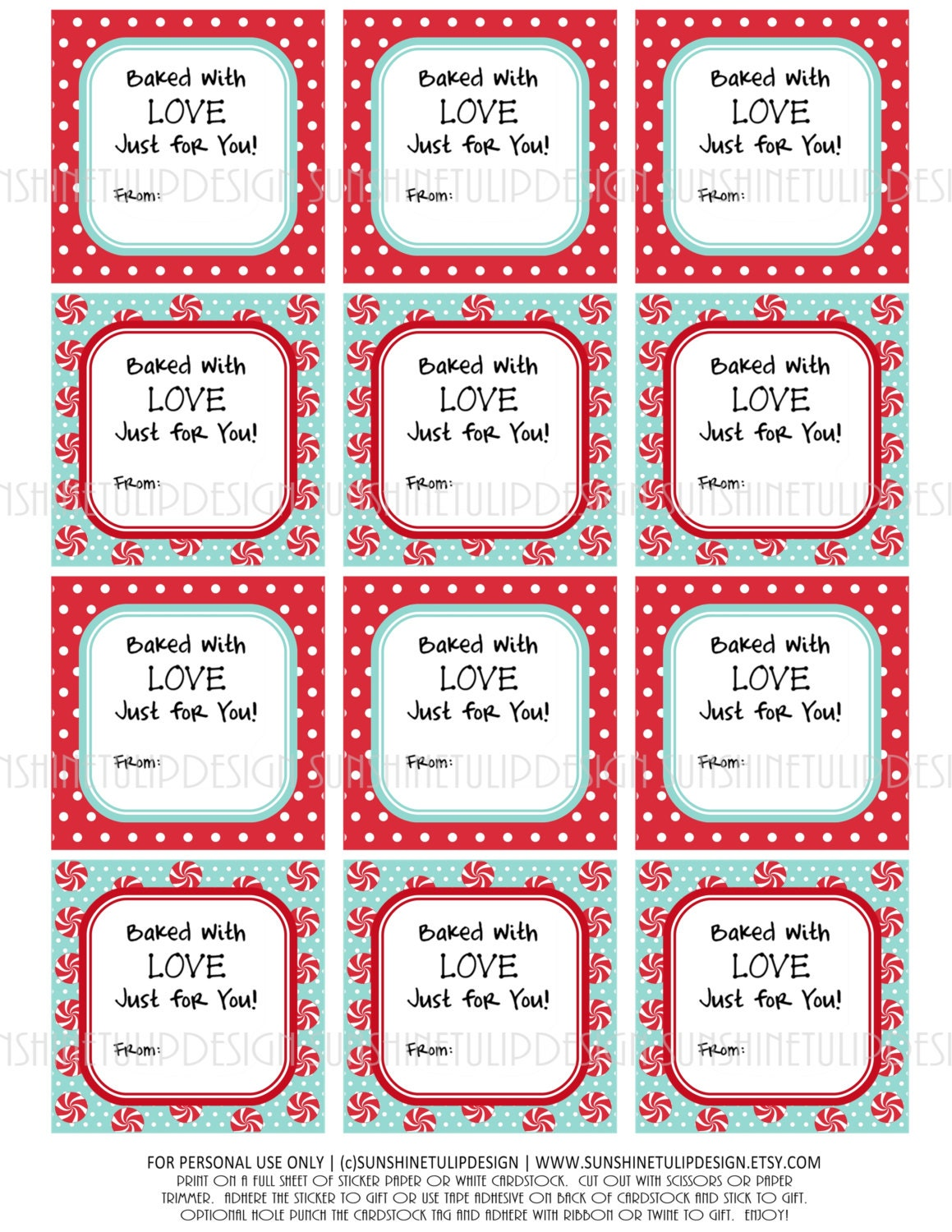 Baked goods labels christmas valentines birthday printable for Homemade baked goods for christmas gifts