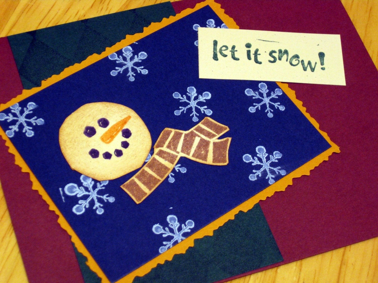 Let it Snow Blank Holiday Card with Snowman