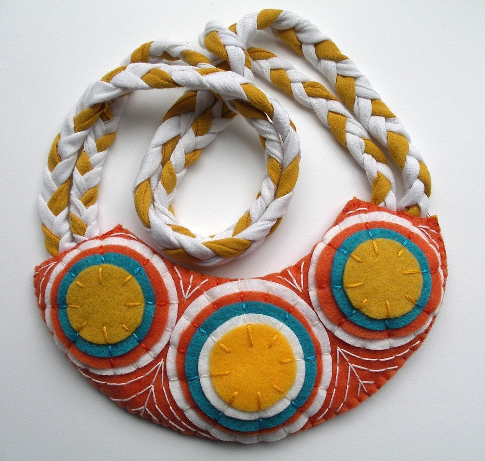 Geometric Bib Necklace - Orange, Blue, Golden Yellow, White