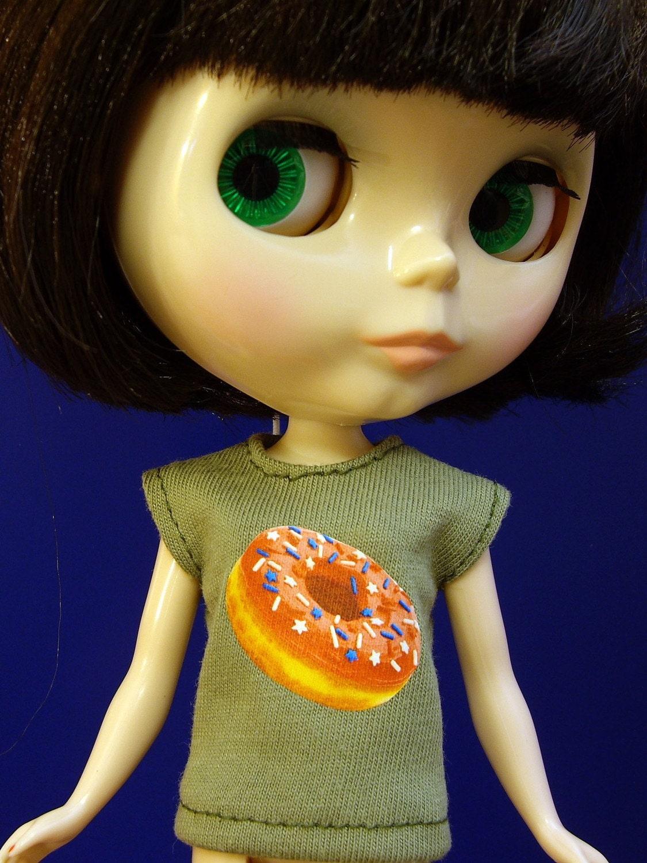 Donut shirt for Blythe Pullip J-doll Momoko 27 cm Obitsu Barbie size dolls