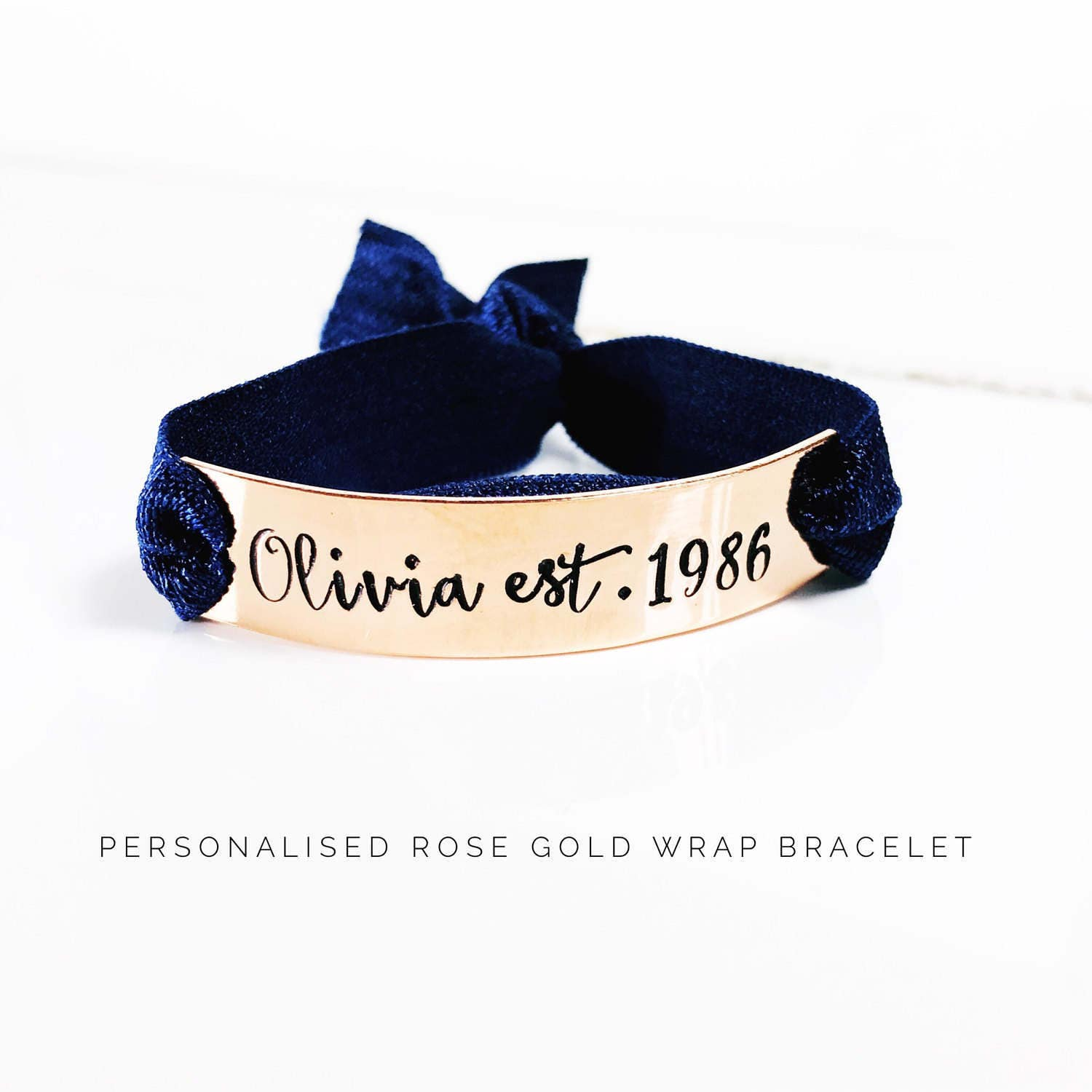 Birthday Gift  18th 21st 30th 40th birthday gift  Personalised Bracelet  Birthday gift ideas for her  Rose Gold Wrap Bracelet