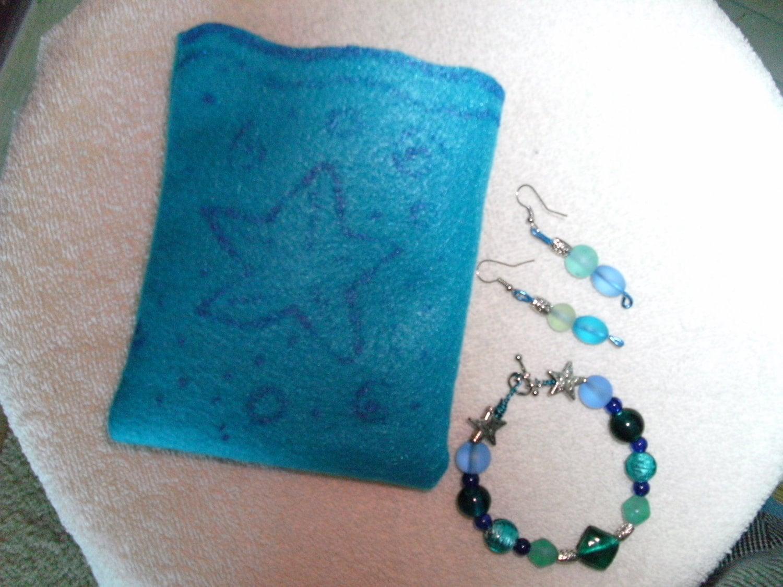 Blue Glass bead bracelet and earring set - akemanartist