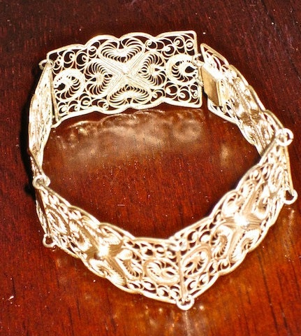 Antique Sterling Silver Openwork Rectangular Station Bracelet - Incredibly Ornate, Very Old Estate Jewelry