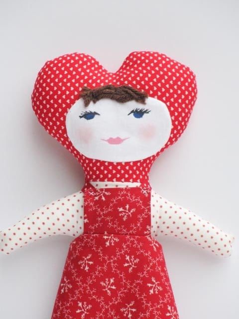 Rag doll softie plush,stuffed doll, textile doll for little girl - handmade child friendly fabric doll in red cloth doll- Valentine day gift