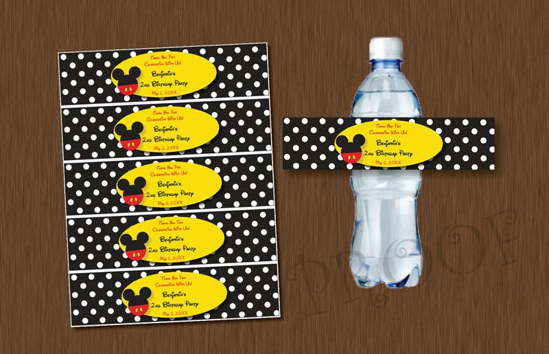 Instant Download Mickey Mouse Water Bottle Labels By
