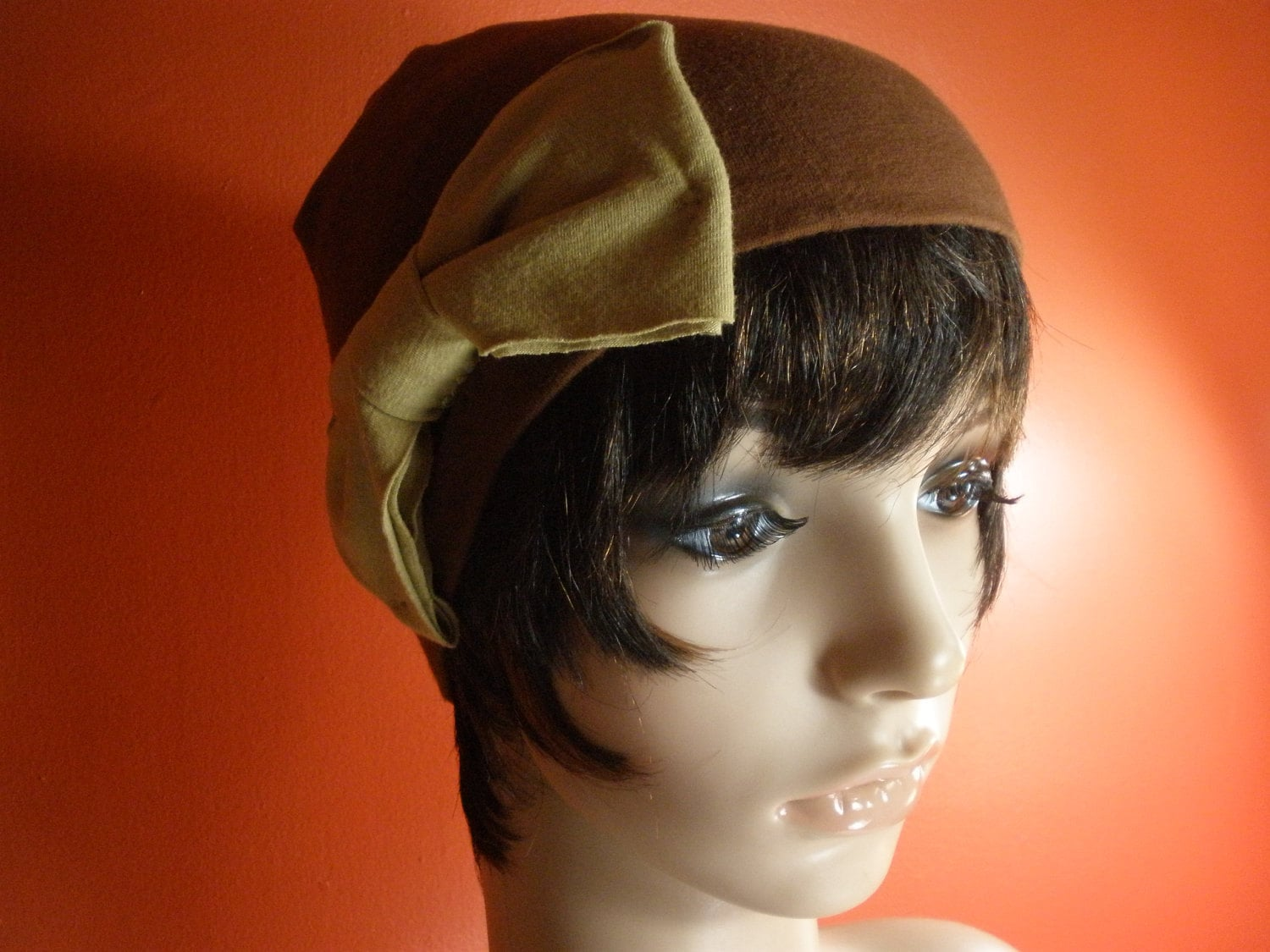 Adorable Soft Brown with Cute Tan Bow Womens Skully Hat/ Skull Cap