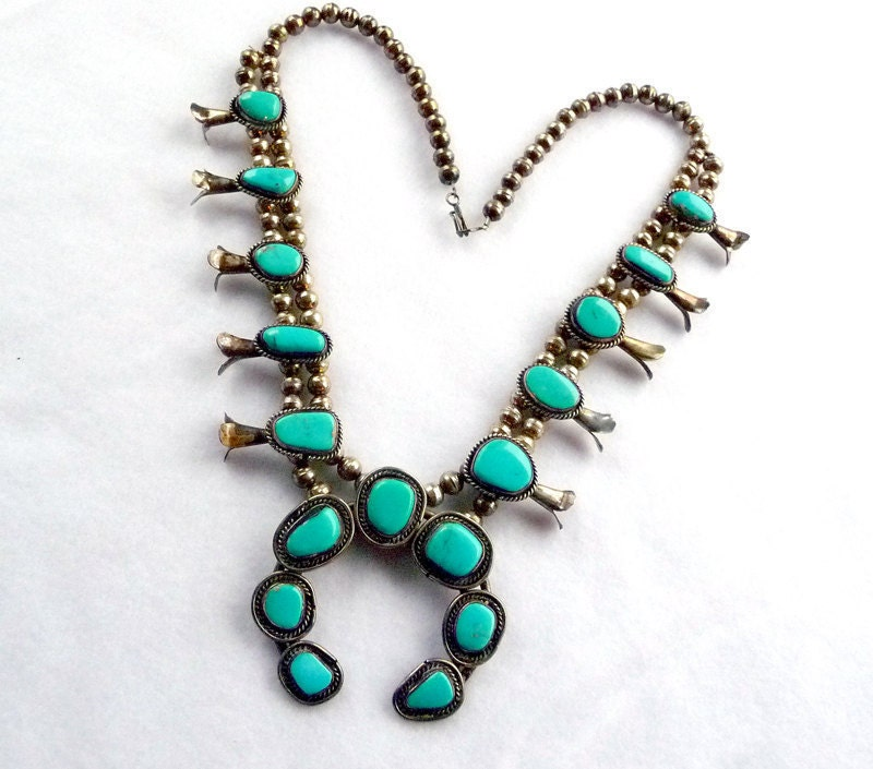 turquoise squash blossom silver necklace by thejewelseeker