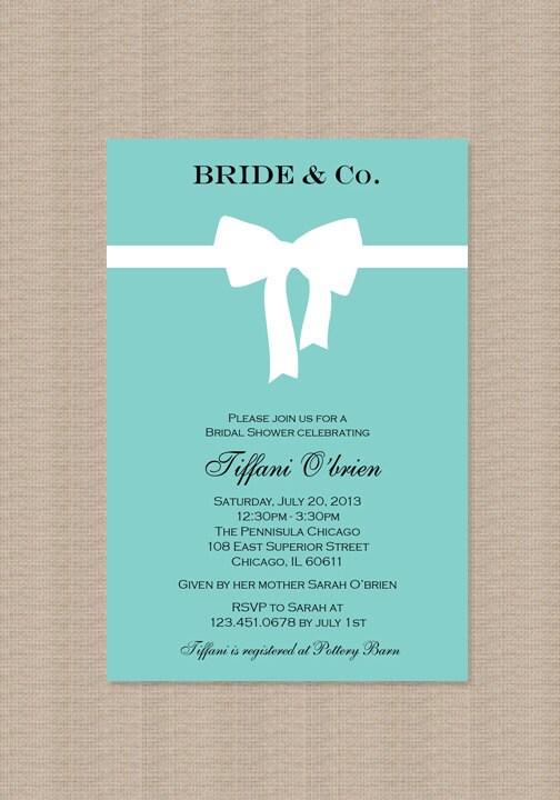Tiffany Blue Bridal Shower Invitations - Inspired by Tiffany Blue Box