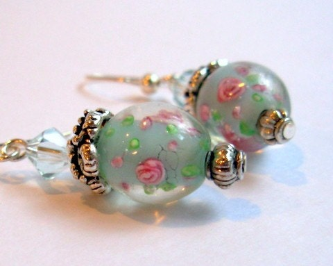 Aqua Bead and Crystal Earrings EUPHORIA