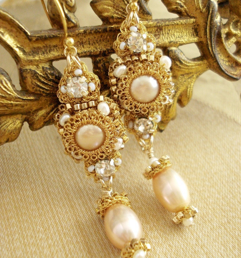 Gold Pearl Drop Earrings- Bridal. Gold Lace. Champagne Pearls. Vintage Rhinestones. Gold Filled/Vermeil. Fall/Winter 2011- SABINA