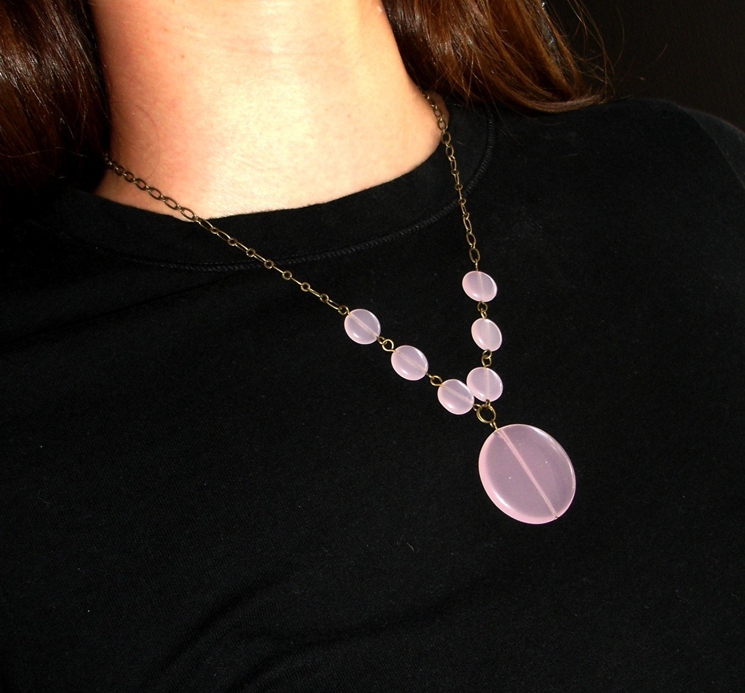 Pale Pink Necklace with Free Matching Earrings - Glass Beads and Bronze Chain