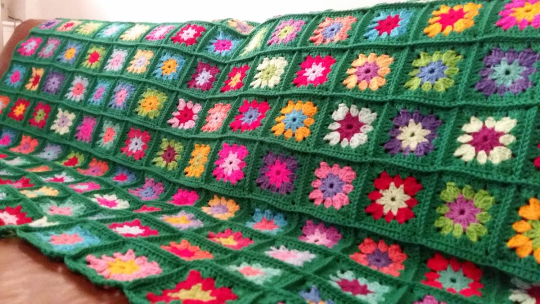 Crochet Granny Squares Flowers Afghan Blanket Emerald Sofa Throw