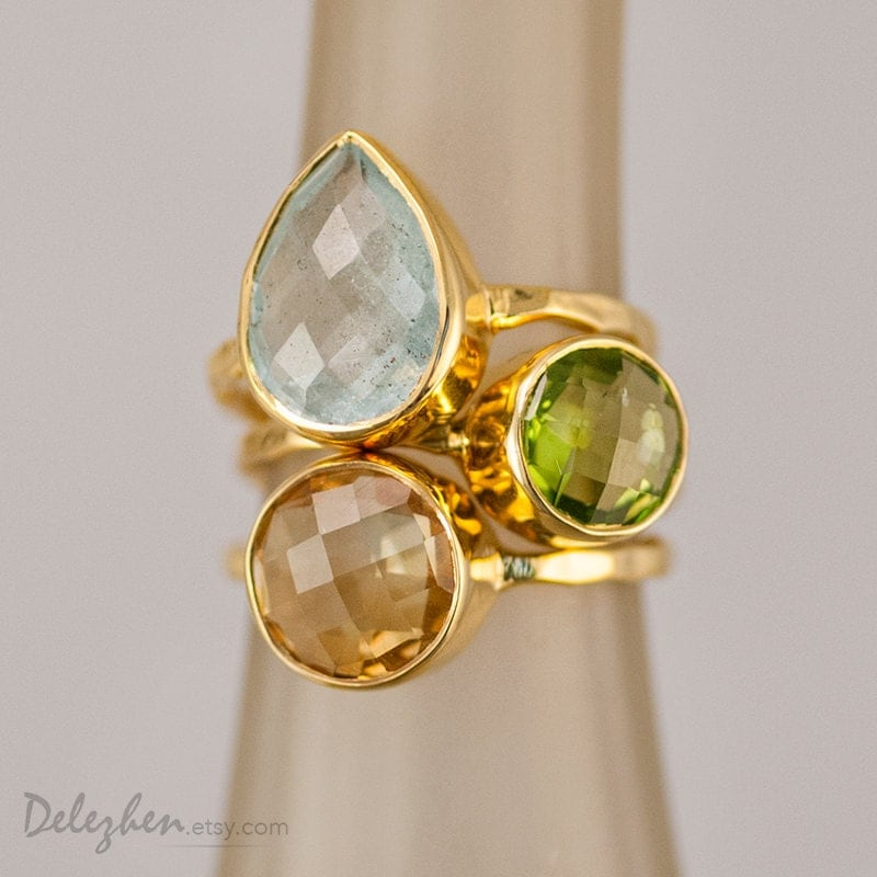 birthstone rings stacking rings stackable rings by delezhen