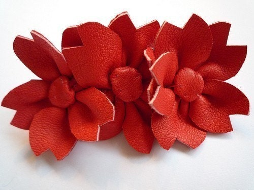 red sakura triple flower leather barrette hair clip handmade