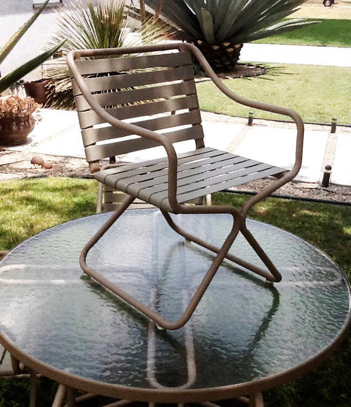 Mid Century Modern Brown Jordan Patio Set 4 Chairs by