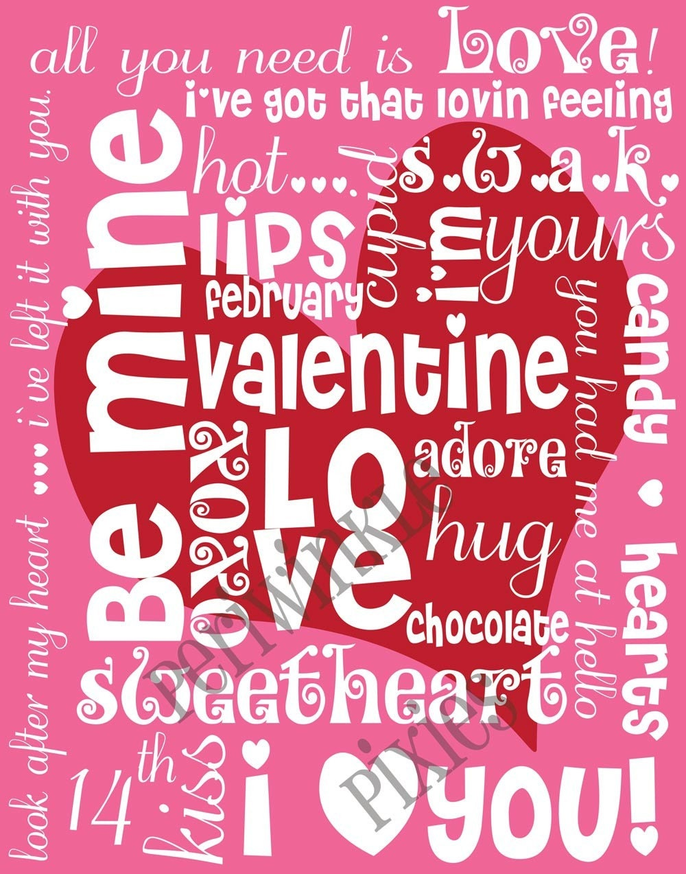 Be Mine Valentine Subway Art Typography PRINTABLE 11 X14