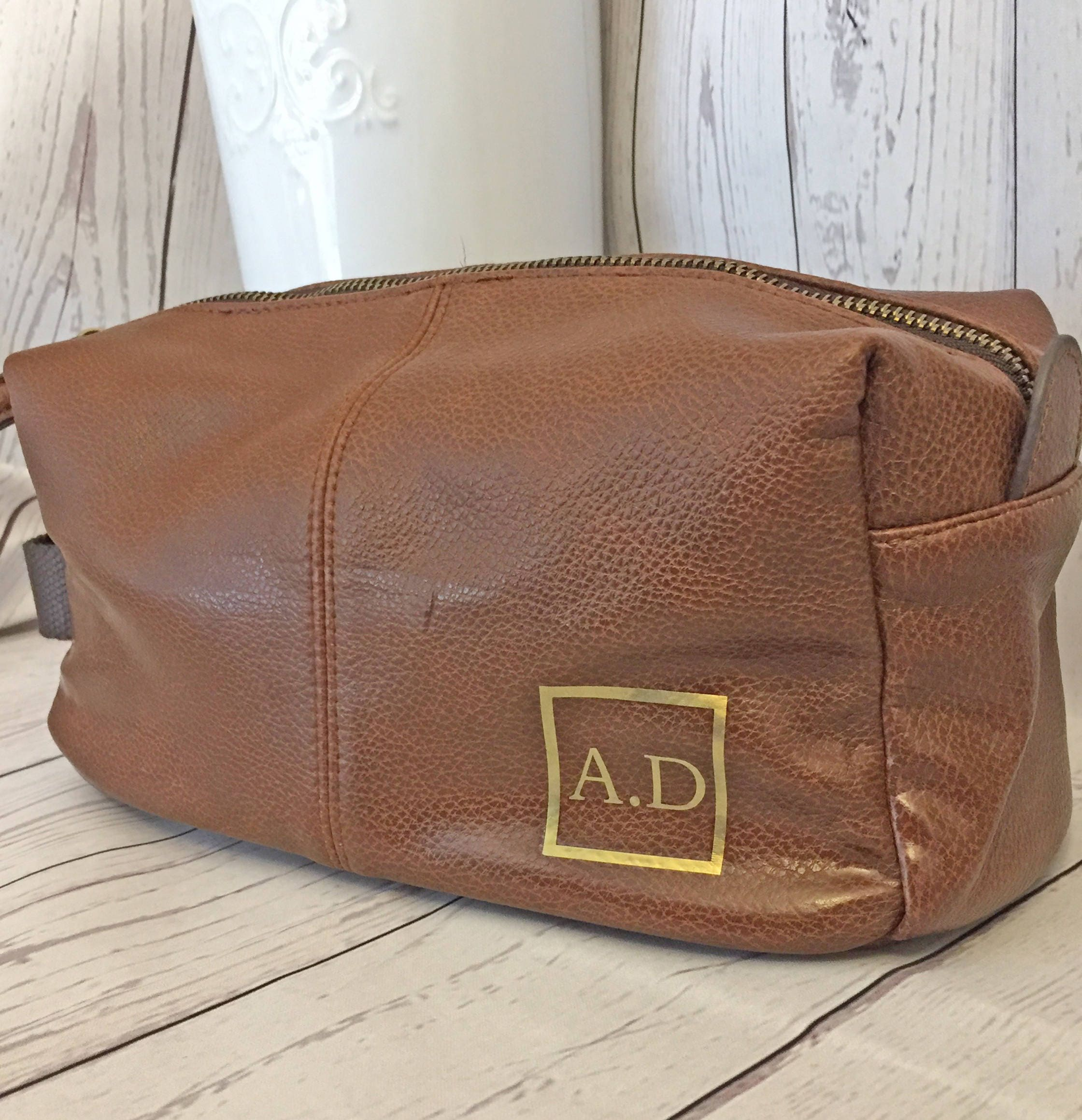 Personalised Initial Wash bag (Tan or Black) Fathers Day Birthday for him Travel Bag