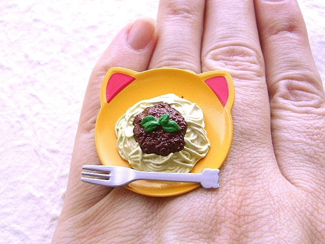 Cute Spaghetti Ring Cat Face