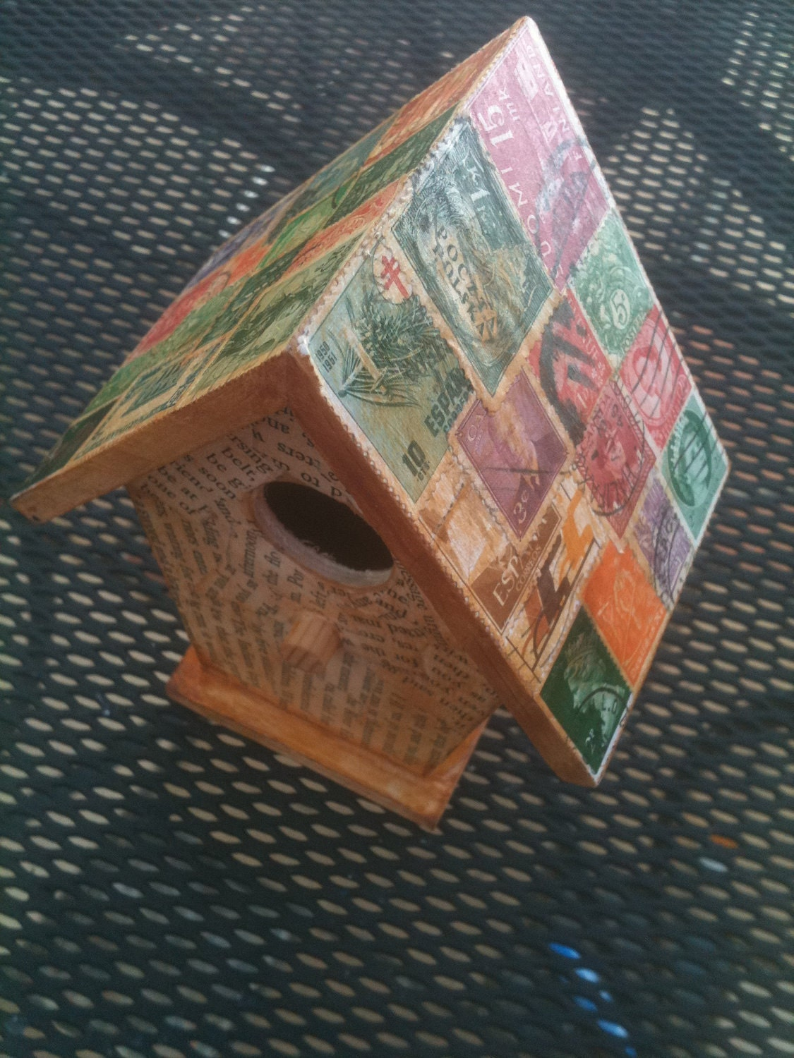 Stamp Collage Bird House Small