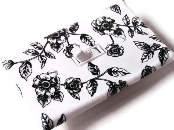 BLACK WHITE ROSES Switchplate Light Switch Plate Outlet Cover - Floral Wild - smijims