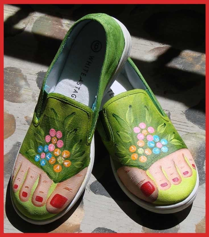 painted canvas tennis shoes size 6 by tinakauffman on