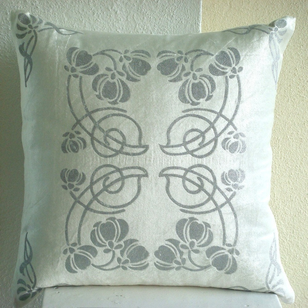 Floating Lotus - Throw Pillow Covers - 16x16 Inches Velvet Pillow Cover with Silver Glitter Design