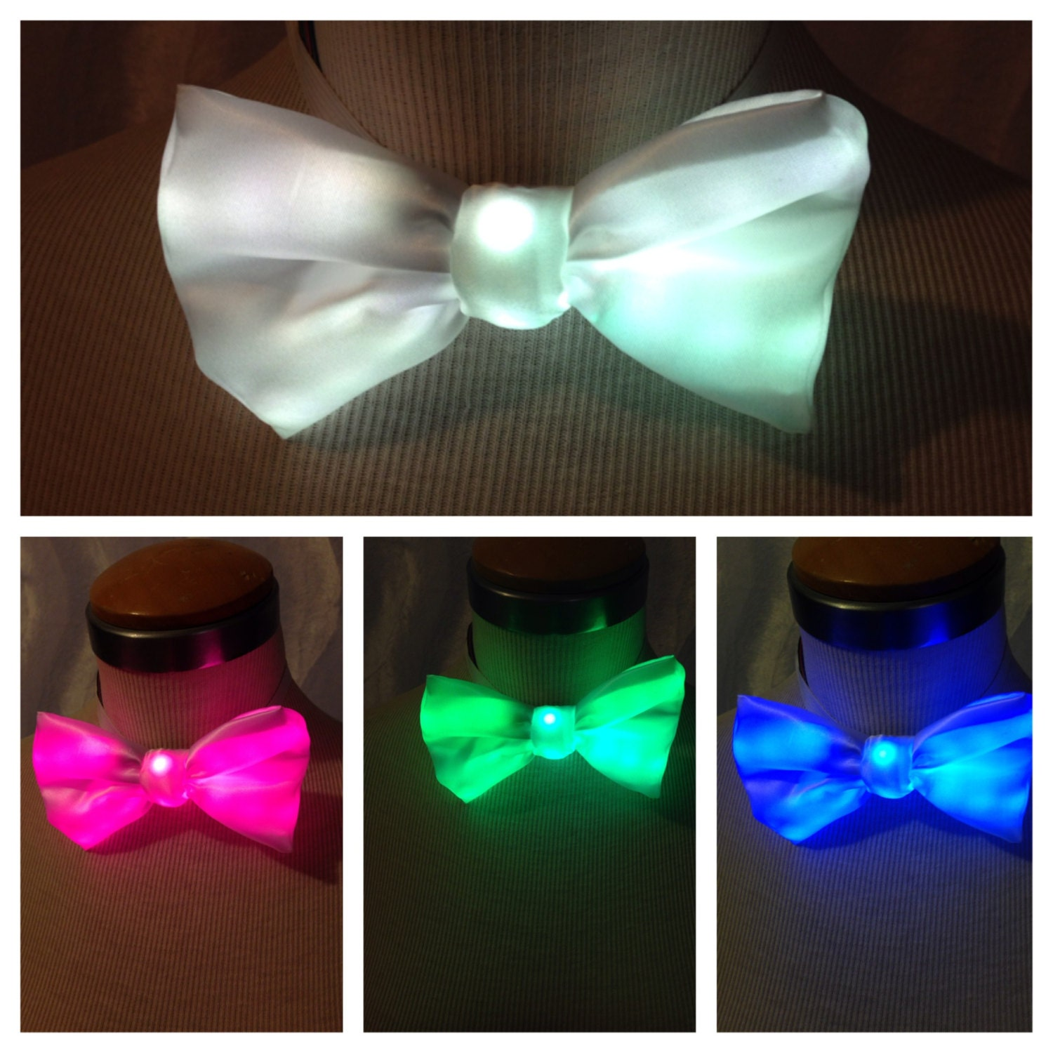 color changing bow tie light up clothing by illuminatedcouture