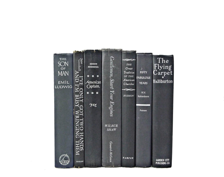 BLACK GRAY SILVER 1940s Decorative Books, Shabby Chic, Antique, Home Book Decor,  Wedding Decor, Book Collection Set, Old  interior design, - HucksterHaven