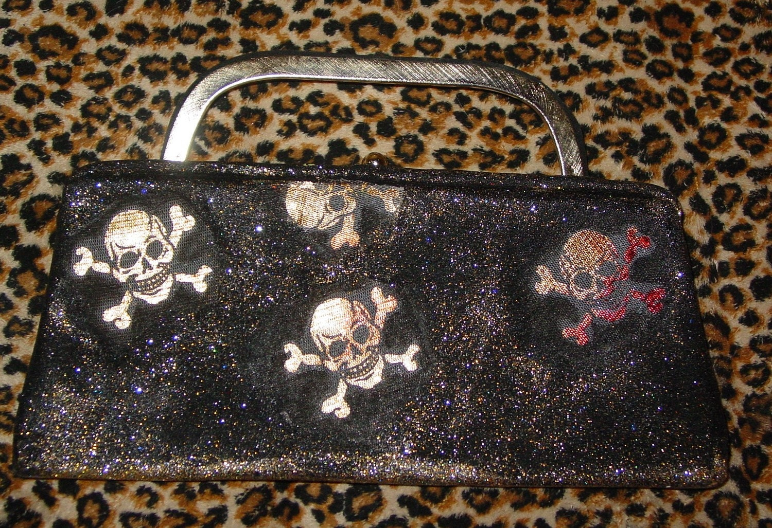 HANDMADE HALLOWEEN black skull purse EVERY WITCH NEEDS one recycled from a vintage purse