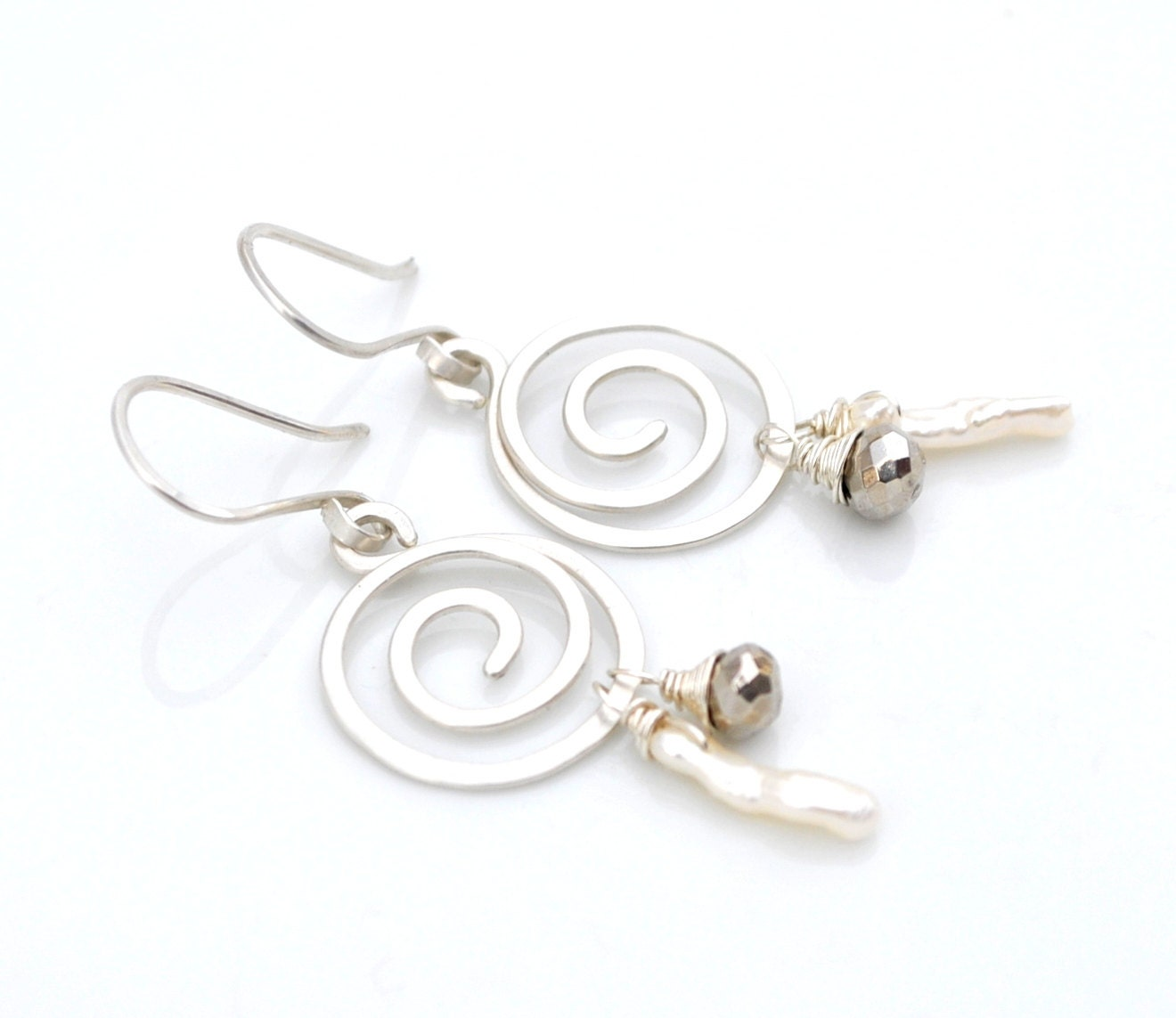 Freshwater Pearl Stick and Golden Pyrite Spiral Earrings - Sterling Silver Wire Wrapped Gemstone & Pearl Dangles, Gift For Her, Whimsy 2014 - WhimsybyKT