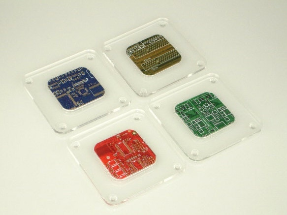 Circuit Board and Clear Acrylic Coasters  Office accessories  Computer Engineer Gifts