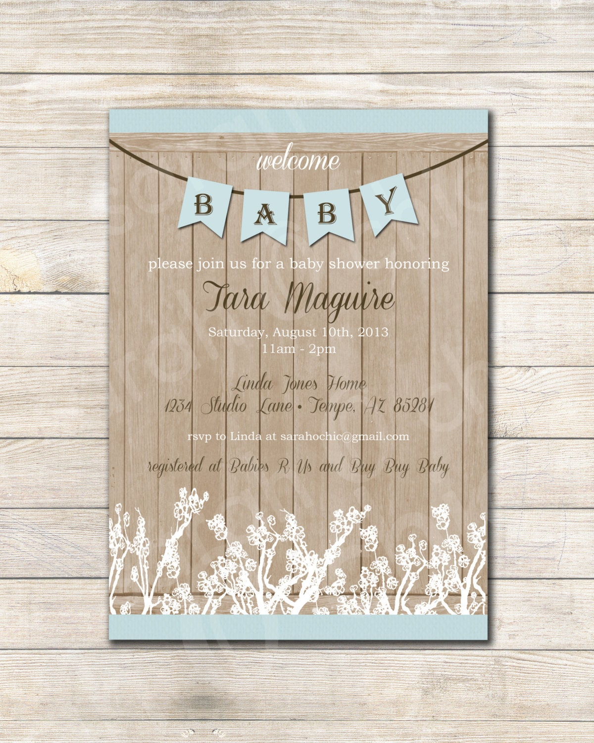 chic blue farmhouse shower rustic invitation rustic baby shower