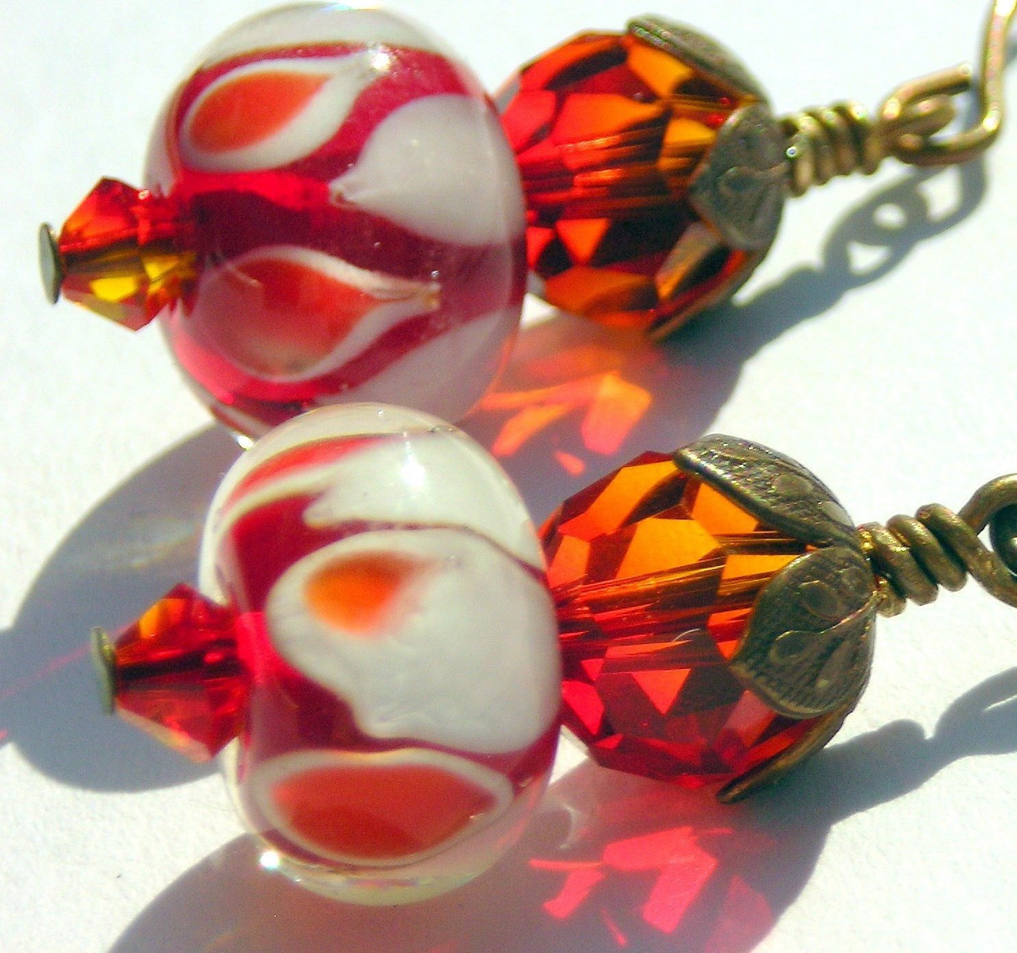 Fire Lampwork and Swarovski Crystal Earrings