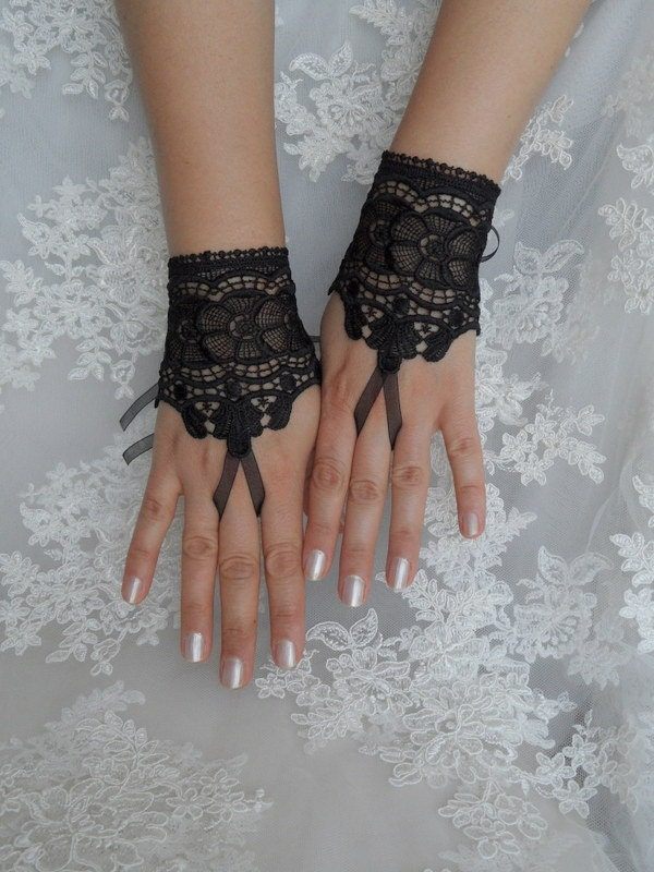 Black venice lace gloves bridal wedding by weddinggloves for Lace glove tattoo