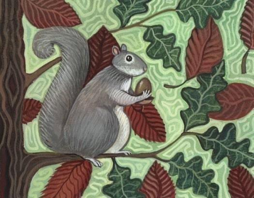 WALLY SQUIRREL in Tree FOLK ART PAINTING PRINT Artist Signed FUNKY RODENTground hedge hog GREY SQUIRREL  Cute Fun Animal