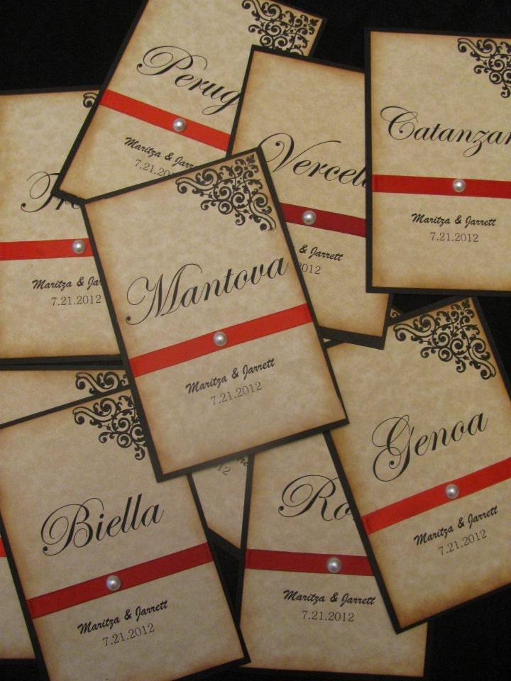 Vintage Inspired Italian Wedding Table Numbers , Wedding Table Cards