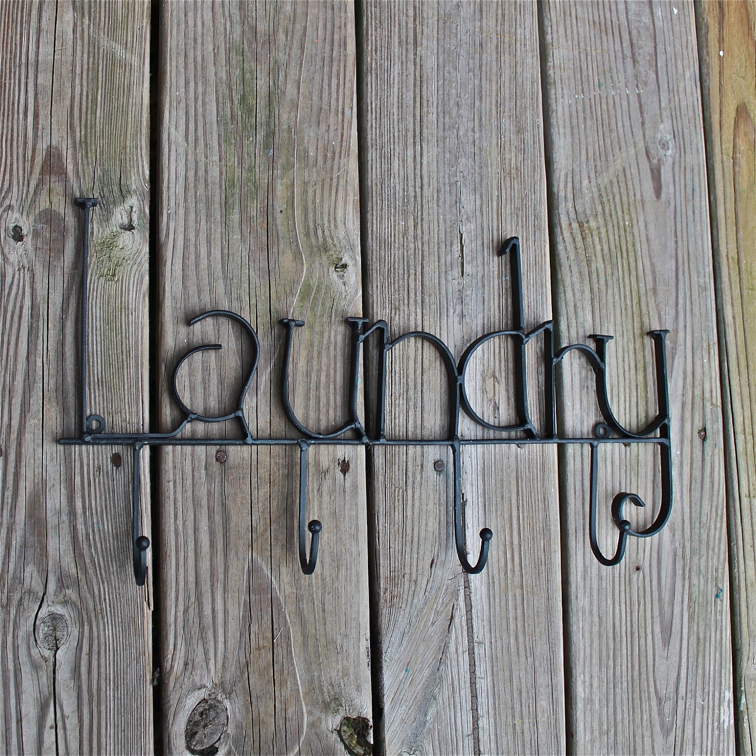 LAUNDRY Metal Wall Hook/ Black/ Laundry Room Bag by AquaXpressions