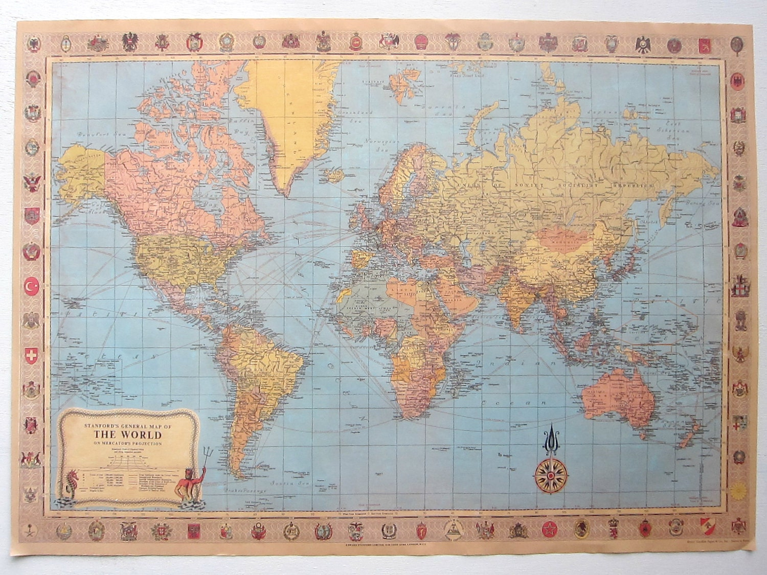 DIY Travel Map Kit World No 2 by EcoMonster on Etsy