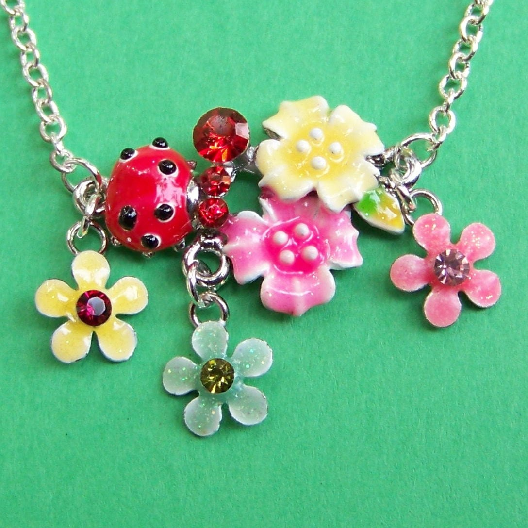 Flower Bouquet Necklace with Ladybug