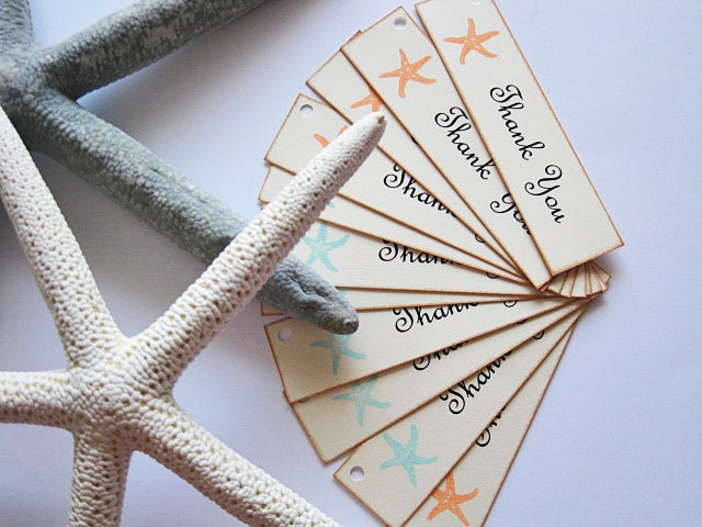 Starfish Wedding Favor TagsOcean Beach Themed By PaperNotions