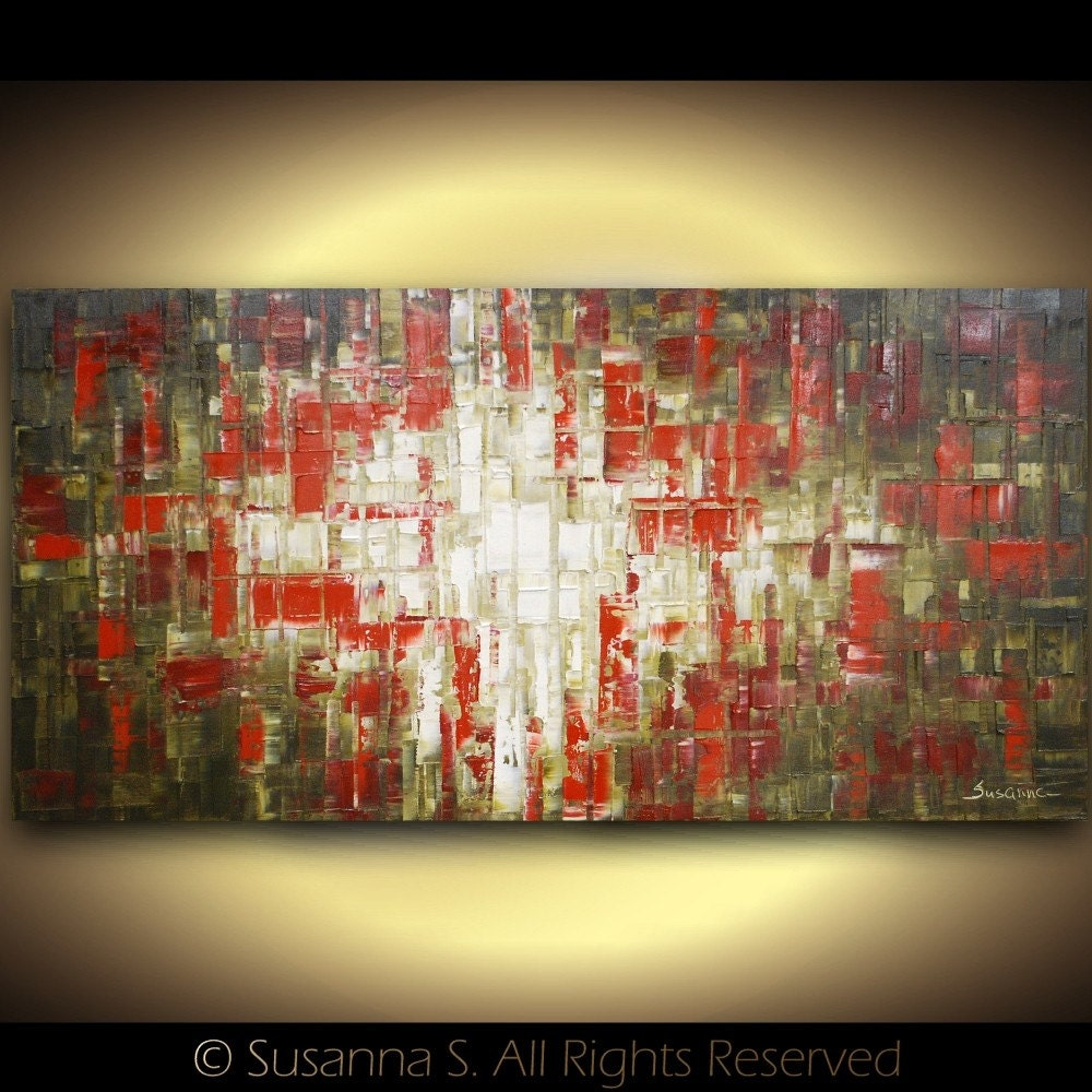 ORIGINAL Large Red Brown Abstract Geometric Modern Palette Knife Oil Textured Painting by Susanna 48x24